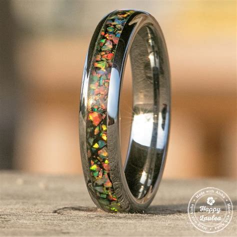 tungsten carbide ring  fire opal inlay mm dome