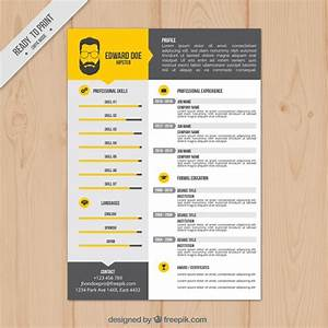 yellow resume template vector free download With free vector resume template