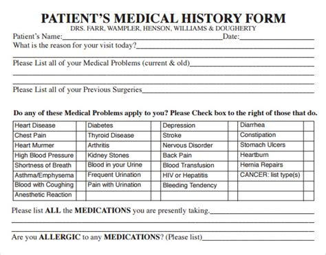 examples  medical history forms   examples