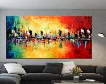rectangular grande abstracto paisaje pintura espatula
