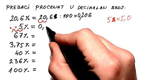 Prebacivanje procenta u decimalni broj - YouTube