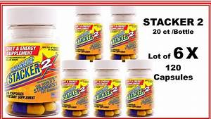 Stacker 2 Fat Burner Loose Weight Energy 20 Ct  Lot 6 X Bottle    120 Capsules