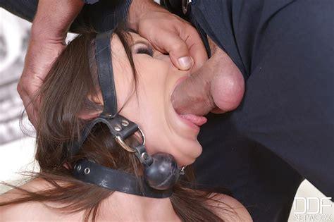 bound brunette akasha cullen forced to deepthroat cock during bdsm training