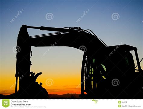 excavator silhouette stock photo image