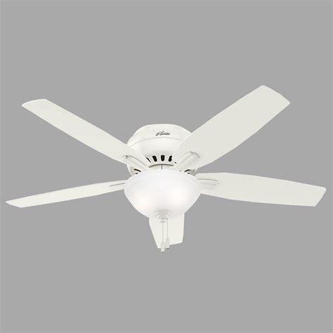 low profile white ceiling fan hunter newsome 52 in indoor fresh white bowl light kit
