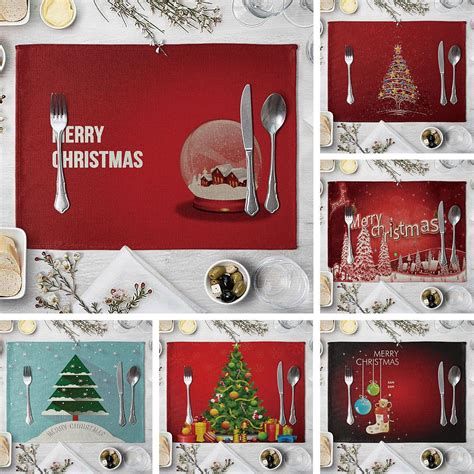 christmas tree heat insulation mat linen placemat kitchen dining table decor dining table decor