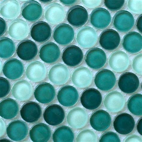 Glasmosaik Rund Knopf Fliesen Button Grün Mix