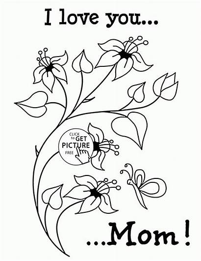 Coloring Mom Mothers Printable Mother Colouring Flowers