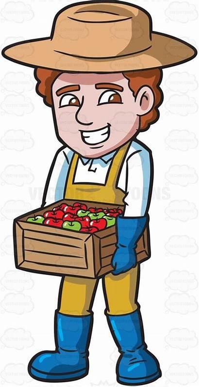 Clipart Apple Farmer Farm Farming Apples Cartoon