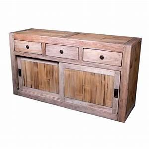 Buffet Portes Coulissantes : buffet avec 2 portes coulissantes 3 tiroirs en bois naturel meuble d 39 indon sie ~ Teatrodelosmanantiales.com Idées de Décoration