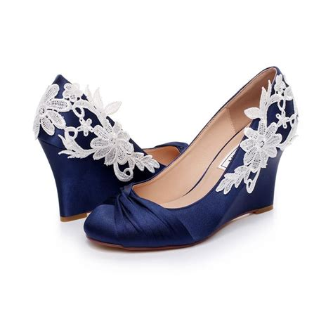 wedge shoes for wedding 17 best luxveer blue wedding wedges with lace ivory 1236