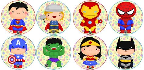 Stickers de súper héroes para realizar diseños o premiar a