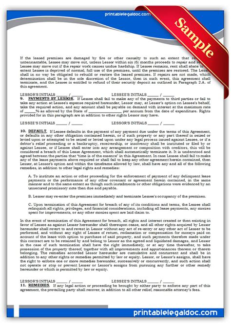 printable standard lease agreement form generic