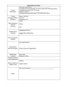 Quick Reference Sheet Template