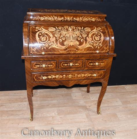 table bureau louis xv roll top desk bureau writing table inlay