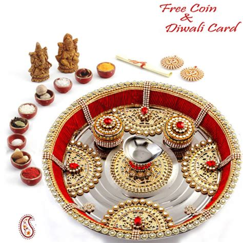 buy metal foil and kundan work diwali puja thali