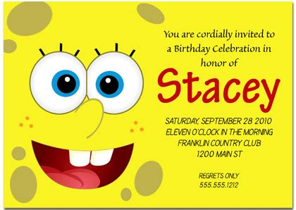 spongebob birthday card template spongebob inspired birthday invitations