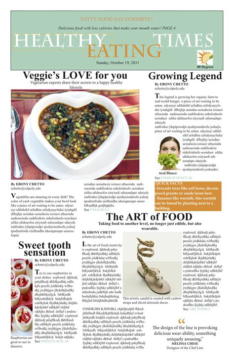 article cuisine newspaper layout my journalism work