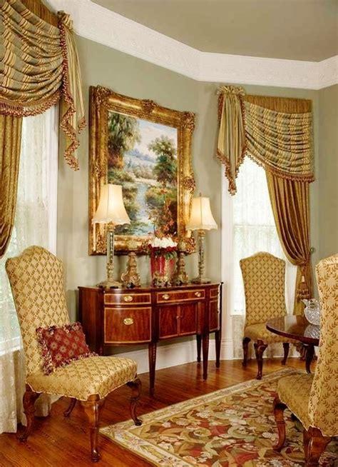 classic traditional window treatment living room rideau