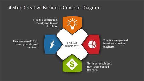 step business concept diagram  powerpoint dark