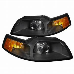Spec-D Tuning for 1999-2004 Ford Mustang Retrofit Style Projector Headlights Black Head Lamps ...