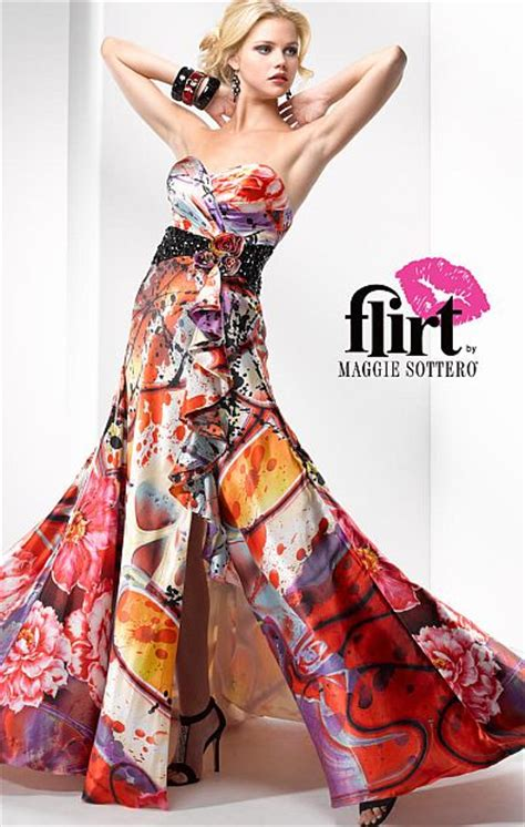 flirt bold print satin prom dress pp  maggie sottero