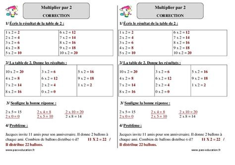 multiplier par 2 ce1 exercices corrig 233 s math 233 matiques cycle 2 pass education