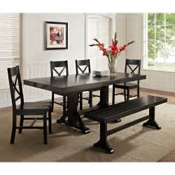 walker edison black 6 piece solid wood dining set with bench dining table sets at hayneedle