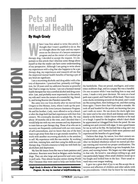Pets and Mental Health In the Solution 26 GPSolo 2009