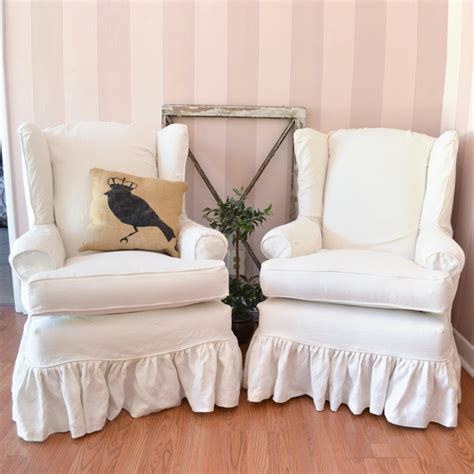 Wingback Chair Slipcover Linen by Gorgeous Pair Of White Linen Slipcovered Wingback Chairs