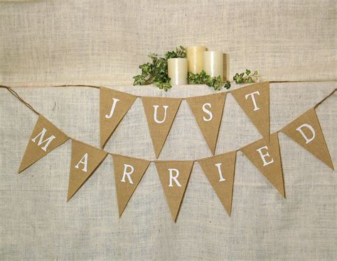 Wedding Banner by Just Married Banner Burlap Banner Wedding Banner