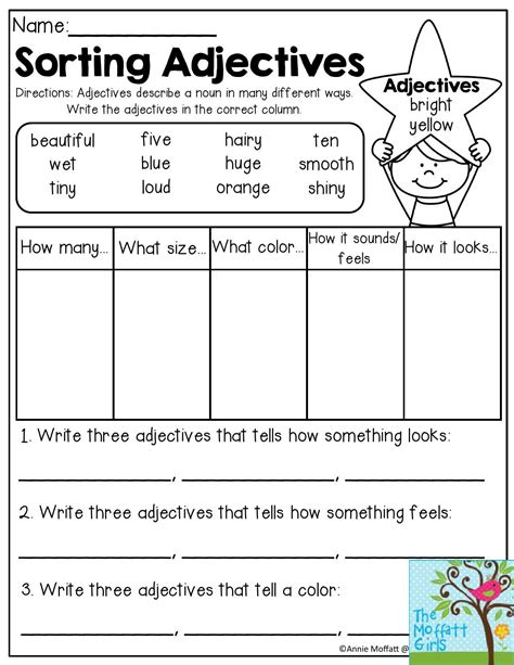 adjectives and nouns worksheets for 2nd grade sorting adjectives adjectives describe a noun in many