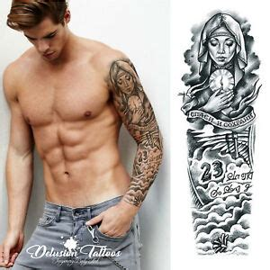 realistic temporary tattoo sleeve arm beckham angel