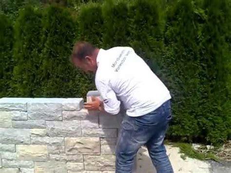 naturstein mauer massiv schnellbausystem gartenmauer youtube