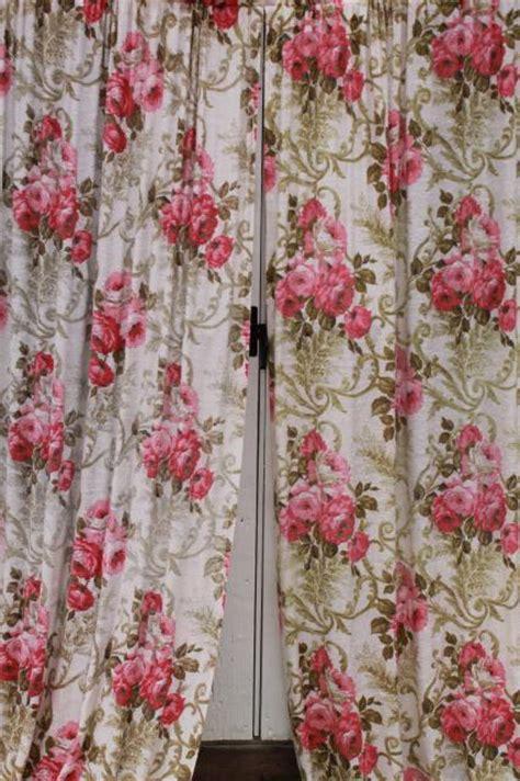vintage roses print rayon barkcloth curtain panels shabby
