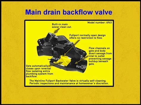 MAINLINE BACKFLOW VALVE   stoping basement flooding from