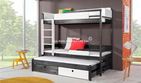 achat lit enfant superpose verso 90x200 en pin massif avec 2 tiroirs de rangement