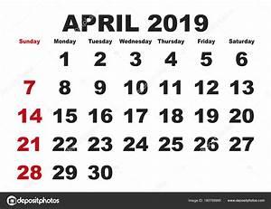 Kalender 18 19 : mes de abril calendario 2019 ingl s usa vector de stock ~ Jslefanu.com Haus und Dekorationen