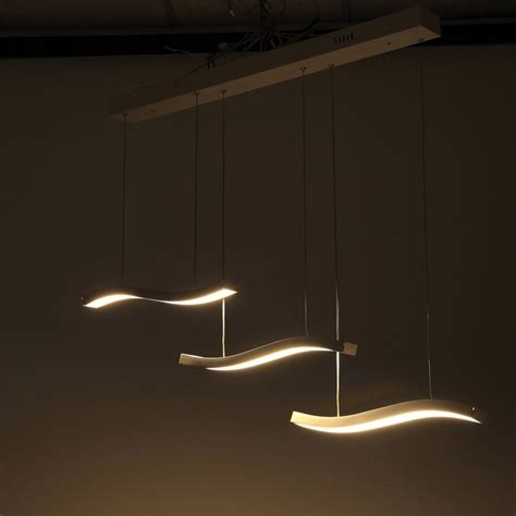 three wave led contemporary pendant light fixture modern