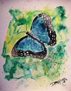 Blue Monarch Butterfly watercolor painting on yupo ...