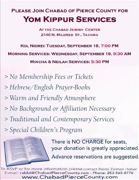 yom kippur services chabad pierce county source