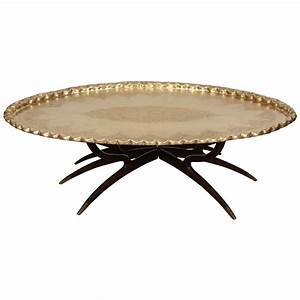 brass tray coffee table on spider legs at 1stdibs With brass leg coffee table