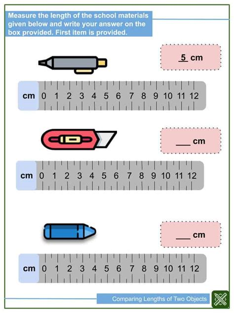 comparing lengths   objects worksheets helping