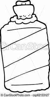 Water Bottle Cartoon Vector Illustration Gradient Drawing Clip Line sketch template