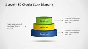 3d Circular Stack Diagram For Powerpoint With 3 Levels