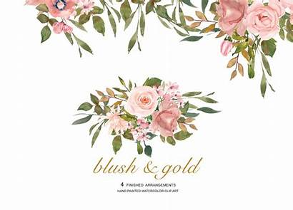 Blush Watercolor Rose Gold Clipart Flower Leaves