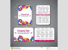 Template Design Pocket Calendar 2016 With Patterns Stock