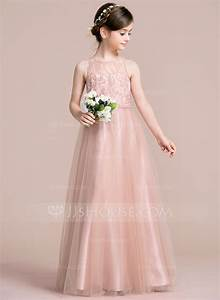 a line princess scoop neck floor length tulle junior With junior wedding dresses