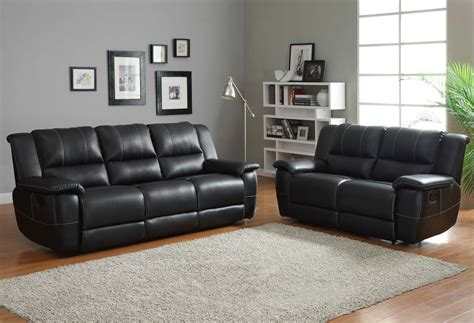 leather look sofa set homelegance cantrell reclining sofa set black bonded