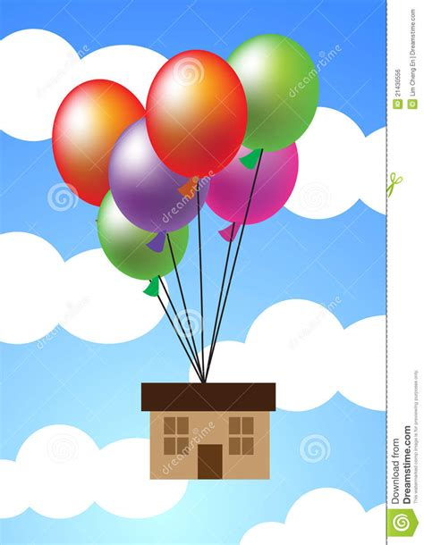 house hanging   balloons stock vector illustration